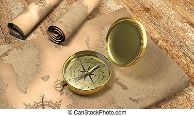 3D gold compass with map on wooden table