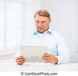 old man at home reading newspaper - oldness, news, leisure...