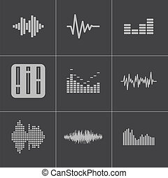 Vector black music soundwave icons set