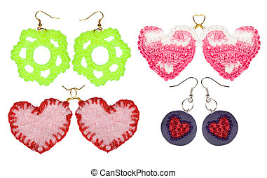 Earrings handmade embroidery of thread and beads