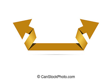 The origami style arrow - The origami style golden arrow