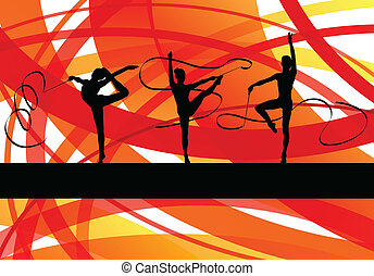 Young women doing calisthenics art gymnastics sport tricks...