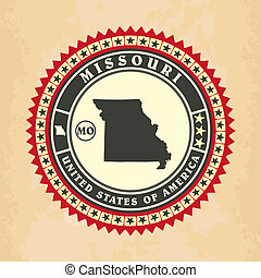 Vintage label-sticker cards of Missouri, vector illustration