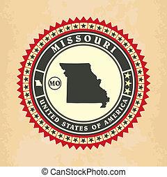 Vintage label-sticker cards of Missouri, vector illustration