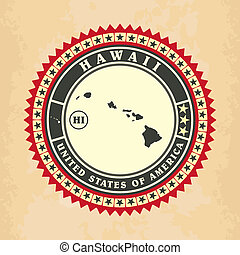 Vintage label-sticker cards of Hawaii, vector illustration