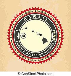 Vintage label-sticker cards of Hawaii, vector illustration