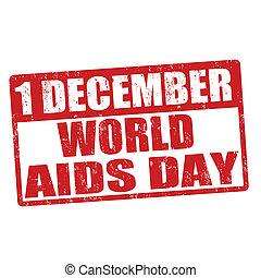 World Aids stamp - World Aids day grunge rubber stamp,...