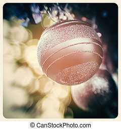Pastel Christmas baubles - Detail of christmas baubles with...