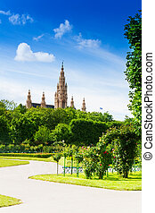 Vienna town hall from the park - Vienna town hall, view from...