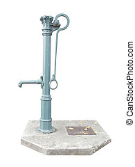 Old metal water hand pump - Old cyan metal water hand pump...