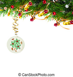 Christmas tree branch with gold serpentine and vintage...