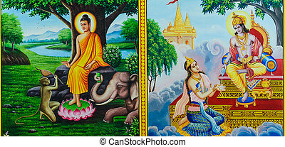 Thai mural painting of the Life of Buddha on temple wall