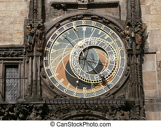 Prague astronomical clock - dial (Old Town clock in Prague,...