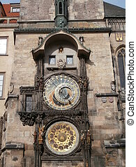 Prague astronomical clock (Old Town clock in Prague, Czech...