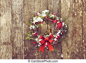 Comon redpoll bird on wreath - Christmas wreath with natural...