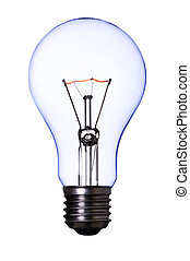 lamp bulb - blue lamp bulb on white with clipping path