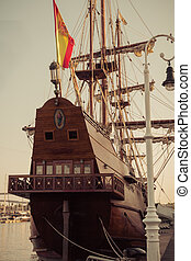 Old sailship. Vintage retro style.