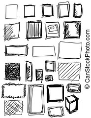 set hand drawn shapes square - Doodle, set hand drawn shapes...
