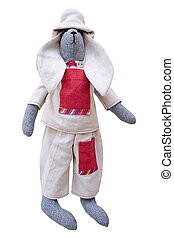 The isolated handmade doll bunny in homespun jacket, pants...