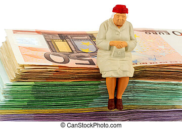 senior sitting on bills - figure of an old woman sitting on...