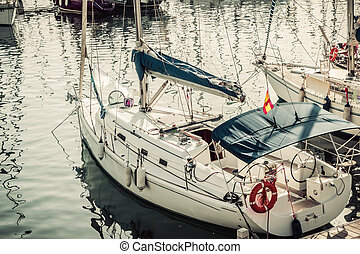 sailboat in Port Vell in Barcelona. Catalonia - view of...