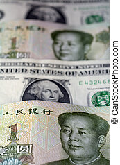 Chinese Yuan on American Dollar - One Chinese Yuan bills on...