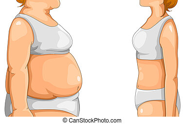 fat and thin - fat woman standing in front of thin woman