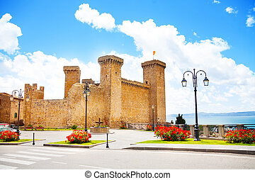 Bolsena castle and square in front of it located in Lazio,...