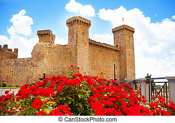 Bolsena castle in spring flowers - Bolsena castle and square...