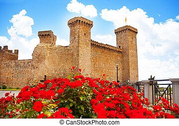 Bolsena castle in spring flowers