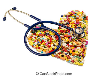 stethoscope and pills in heart shape - stethoscope and...
