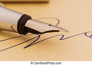 signature and fountain pen - a signature and a fountain pen...