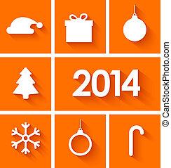 Icons set of new year 2014 on orange background