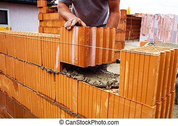 construção, trabalhador, trabalho, local
