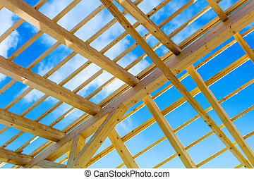 wooden roof construction, symbolic photo for home, home...