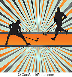 Floorball player vector silhouette background abstract burst
