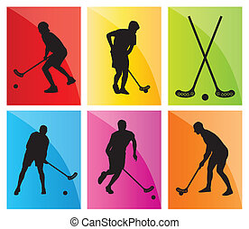 Floorball player vector silhouette background sport set for...