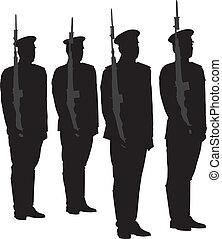 Honor Guard Silhouette on white background