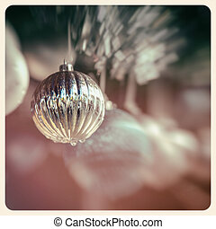 Silver bauble retro image