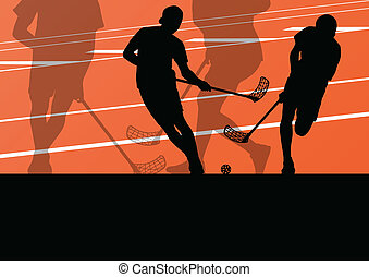 Floor ball players active children sport silhouettes...