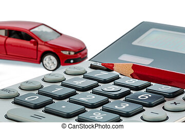 auto, red pen and calculator - a car and a red pen is on a...