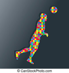 Soccer player kicks the ball vector background concept for...