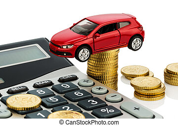 cost of the car with calculator - car and calculator rising...