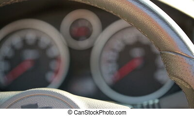 Car dashboard - a sports car instrument panel, showing rpm...
