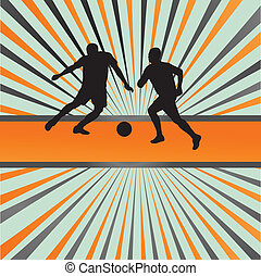 Soccer football player silhouette vector burst background...