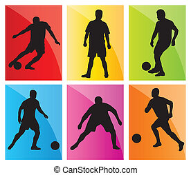 Soccer football player silhouette vector background set