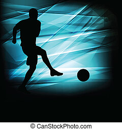 Soccer football player silhouette vector abstract blue...