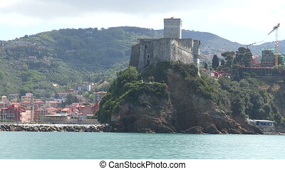 View of the castle in Lerici, Italy, seen from a boat