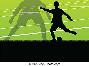 Soccer football players active sport silhouettes vector...