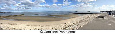 Westbrook Beach Panorama - Wide angle panoramic view of a...